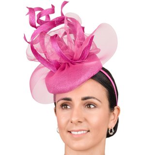 Wholesale sinamay fascinators with twists and distressed crin