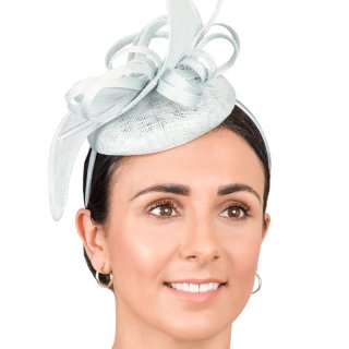 Wholesale fascinator with sinamay form, twists, crin ruffle and quill