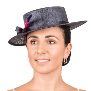 Wholesale wedding hat developed from sinamay and featuring contrast feather and short brim