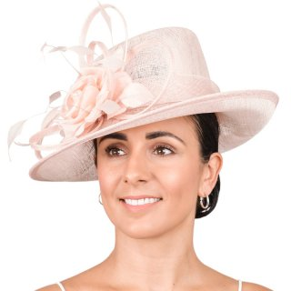 Wholesale wedding hat developed from sinamay and featuring loops, feather & flower