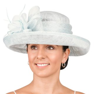Wholesale wedding hats featuring wide brims with bows and feather developed from sinamay