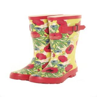 Wholesale infants pink floral rubber wellington boots