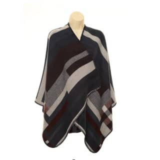 Wholesale ladies bold burgundy striped wrap