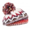 Wholesale knitted beret with large pom pom in red and white colour