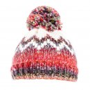 Bulk bobble hat for ladies with red patterning
