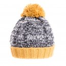 Wholesale bobble hat with yellow and grey cable knit design