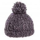 Bulk bobble hat with dark grey popcorn yarn