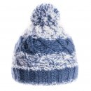 Mens wholesale bobble hat in blue with fleece lining