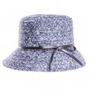 Wholesale navy wool blend cloche with detailed band for women