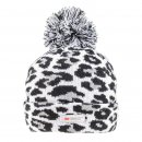 Bulk ladies grey leopard print thinsulate bobble hat