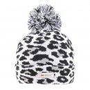 Bulk ladies grey leopard print thinsulate bobble hat