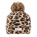 Bulk ladies brown leopard print thinsulate bobble hat