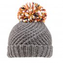 Grey ladies chunky knitted bobble hat from wholesale supplier SSP Hats Ltd