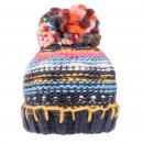 Bulk ladies chunky knit patterned bobble hat with fleece lining in navy