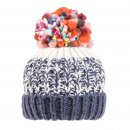 Bulk ladies chunky knitted bobble hat with fleece lining in navy and white