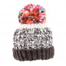 Bulk ladies chunky knitted bobble hat with fleece lining in black and white
