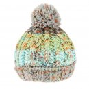Bulk adults chunky bobble hat with fleece lining and multi striped patterning