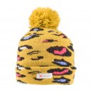 Wholesale ladies yellow leopard print thinsulate bobble hat