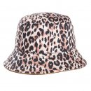 Wholesale ladies reversible leopard print bucket hat developed from cotton and polyester