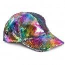 Wholesale ladies flipable rainbow sequin baseball cap