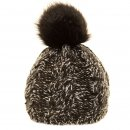 Bulk two tone knitted bobble hat with faux fur pom pom in black