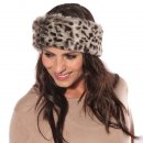 Wholesale Womens elasticated faux fur headband on model