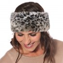 Wholesale Womens elasticated grey faux fur headband on model