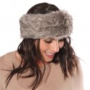 Wholesale Womens elasticated plain faux fur headband on model