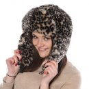 Wholesale dark grey assorted faux fur animal print trapper on model
