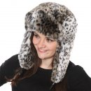 Wholesale light grey assorted faux fur animal print trapper on model