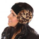 Wholesale womens knitted faux fur earmuff headband in leopard animal print on model