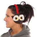 Wholesale adults knitted animal earmuffs in the style of an owl on model