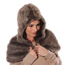 Luxury wholesale faux fur hood in brown