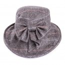 Grey ladies tweed herringbone wide brim hat for purchase from hat supplier SSP Hats