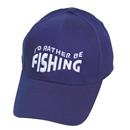 Wholesale navy baseball cap with 'I'd rather be fishing'