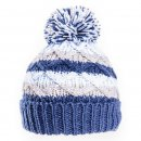 Wholesale babies cable knit bobble hat in blue and white