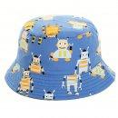 Wholesale blue childs robot printed bush hat