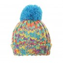 Wholesale chunky knit girls bobble hat featuring a vibrant multicoloured design