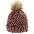 Girls multi coloured knitted brown bobble hat from wholesale hat supplier SSP Hats