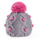Girls bobble hat with bobble detail in grey and pink available for bulk purchase