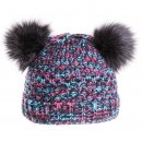 Wholesale girls double pom-pom hat in black and multi coloured design