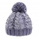 Bulk acrylic cable knitted bobble hat in navy and grey