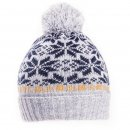 Boys bulk cable knitted bobble hat with dark blue wintry design