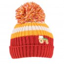 Wholesale boys tractor and fire engine logo knitted bobble hat in yellow and orange