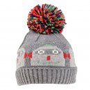 Wholesale boys knitted bobble hat with second robot design
