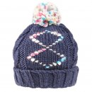 Wholesale girls blue chunky diamond print knitted bobble hat