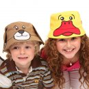 Wholesale children's animal bush hat on two models