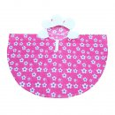 Wholesale pink flower poncho from the front