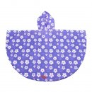 Wholesale purple flower poncho from the back