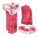 Wholesale ladies super soft gloves in red and large faux fur cuffs